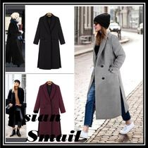 Wool Plain Long Elegant Style Chester Coats