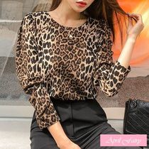 Leopard Patterns Casual Style Long Sleeves Shirts & Blouses