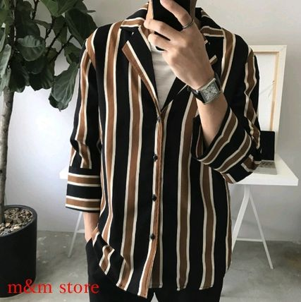 Shirts Stripes Cropped Oversized Shirts 3