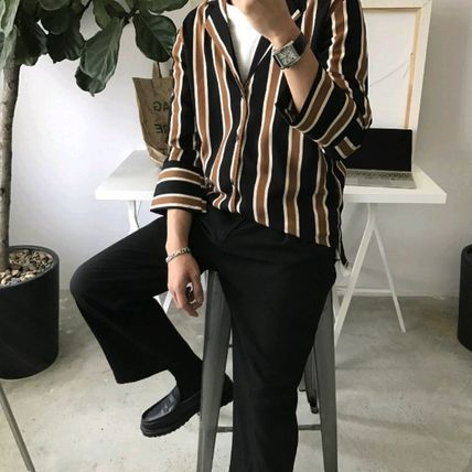 Shirts Stripes Cropped Oversized Shirts 4