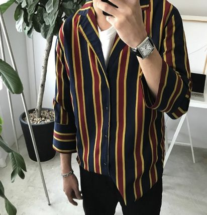 Shirts Stripes Cropped Oversized Shirts 5