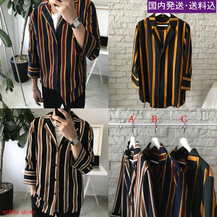 Shirts Stripes Cropped Oversized Shirts