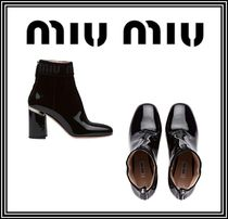 MiuMiu Round Toe Casual Style Plain Leather Chunky Heels