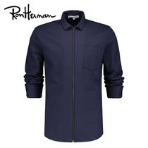 Ron Herman Long Sleeves Plain Cotton Handmade Shirts