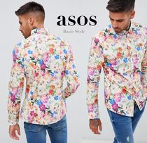 ASOS Button-down Flower Patterns Long Sleeves Cotton Shirts