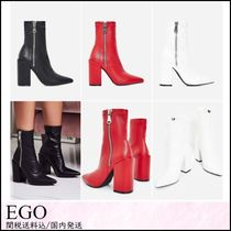 EGO Casual Style Faux Fur Plain Chunky Heels