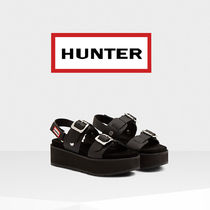 HUNTER Open Toe Platform Casual Style Plain Leather Sport Sandals