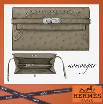 HERMES Kelly Dots Unisex Ostrich Leather Long Wallets