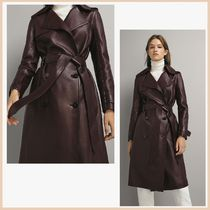 Massimo Dutti Plain Leather Medium Office Style Trench Coats