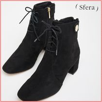 Sfera Lace-up Suede Plain Block Heels Lace-up Boots