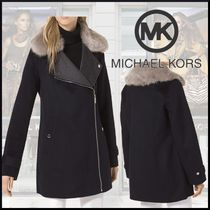 Michael Kors Wool Plain Medium Biker Jackets