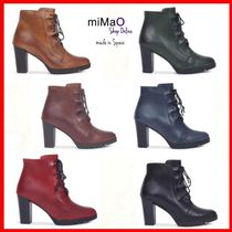miMaO Round Toe Lace-up Casual Style Plain Leather Block Heels