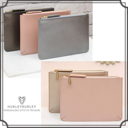 Plain Leather Elegant Style Clutches