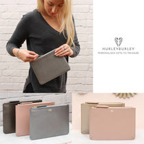 HURLEY BURLEY Plain Leather Elegant Style Clutches