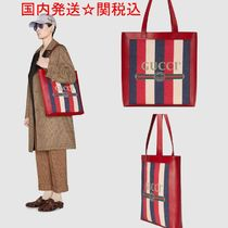 GUCCI Stripes Unisex Canvas Street Style A4 Totes