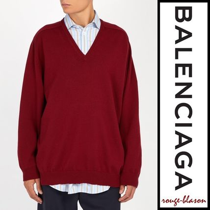 BALENCIAGA Vests & Gillets Cashmere Fine Gauge V-Neck Long Sleeves Plain Oversized