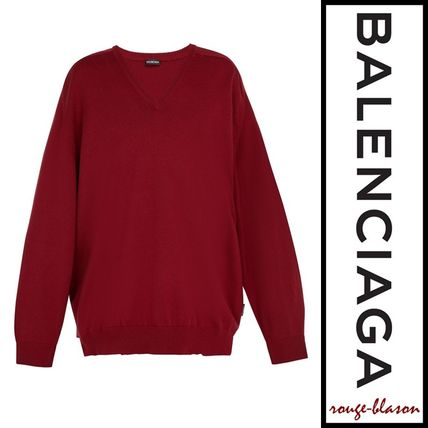 BALENCIAGA Vests & Gillets Cashmere Fine Gauge V-Neck Long Sleeves Plain Oversized 2