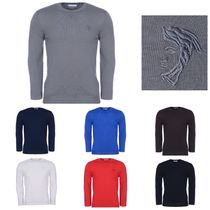 VERSACE Crew Neck Wool Long Sleeves Plain Knits & Sweaters