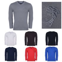 VERSACE Wool V-Neck Long Sleeves Plain Knits & Sweaters