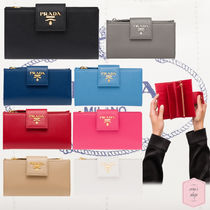 PRADA Blended Fabrics Plain Leather With Jewels Long Wallets