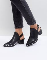 ASOS Casual Style Faux Fur Studded Block Heels Mid Heel Boots