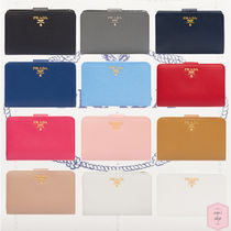 PRADA Blended Fabrics Plain Leather With Jewels Folding Wallets