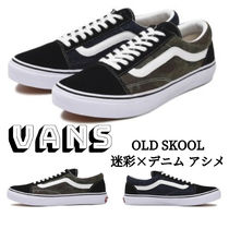 VANS OLD SKOOL Camouflage Plain Toe Rubber Sole Lace-up Casual Style Unisex