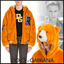 Dolce & Gabbana Short Faux Fur Blended Fabrics Street Style Bomber Jackets