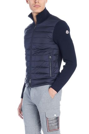 MONCLER Cardigans Wool Blended Fabrics Street Style Plain Logos on the Sleeves