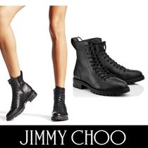 Jimmy Choo Round Toe Casual Style Plain Leather Ankle & Booties Boots