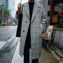 Glen Patterns Street Style Long Oversized Chester Coats