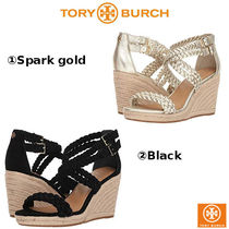 Tory Burch Open Toe Casual Style Leather Platform & Wedge Sandals