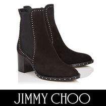 Jimmy Choo Round Toe Casual Style Suede Studded Plain Block Heels