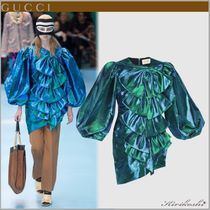 GUCCI Nylon Plain Medium Party Style Puff Sleeves Shirts & Blouses