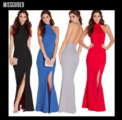 Maxi Sleeveless Plain Long High-Neck Dresses