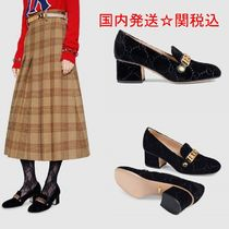 GUCCI Sylvie Square Toe Suede Street Style Bi-color Plain Block Heels