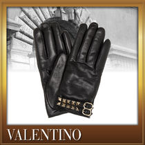 VALENTINO Studded Plain Leather Leather & Faux Leather Gloves