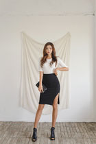 Pencil Skirts Plain Cotton Medium Elegant Style Midi Skirts