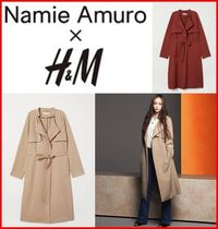H&M Collaboration Plain Elegant Style Trench Coats