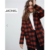 MONKI Other Check Patterns Casual Style Medium Peacoats