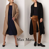 Max Mara Studio Wool Plain Long Elegant Style Wrap Coats