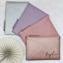 HURLEY BURLEY Casual Style Unisex Plain Leather Clutches