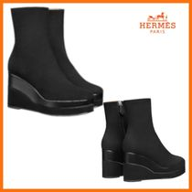 HERMES Square Toe Plain Ankle & Booties Boots