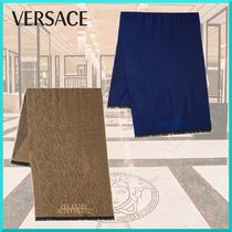 VERSACE Other Check Patterns Unisex Wool Street Style Scarves