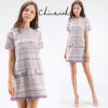 Short Other Check Patterns Casual Style Tassel Short Sleeves
