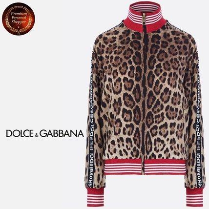 Short Leopard Patterns Casual Style Silk Long Sleeves