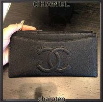 CHANEL TIMELESS CLASSICS Unisex Plain Leather Pouches & Cosmetic Bags