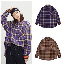 ROMANTIC CROWN Other Check Patterns Unisex Street Style Long Sleeves Cotton