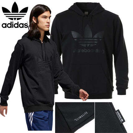 adidas Hoodies Unisex Street Style Long Sleeves Plain Cotton Hoodies