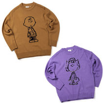STEREO VINYLS COLLECTION Crew Neck Unisex Street Style Long Sleeves Plain